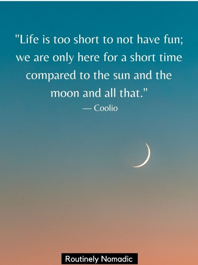 Sliver of a moon at sunset with a sun and moon quotes by Coolio